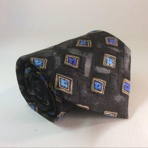"Hugo Boss black blue squares silk tie 58/3.75"""